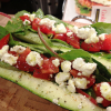 Zucchini Boats with Tomato, Goat Cheese and Greens