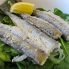 Pan-fried Smelts over a Spinach, Onion and Cucumber Salad