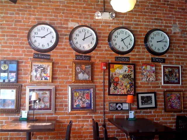 bills pizza clocks Bills Pizzeria in Newton Centre