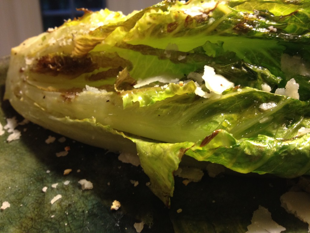 ... simple summer recipe... Grilled Romaine Lettuce with Shaved Parmesan