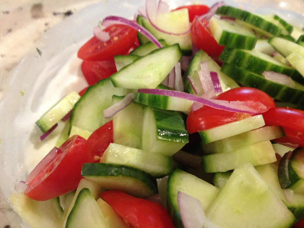 sliced red onions very thinly and cut cucumber slices into ...