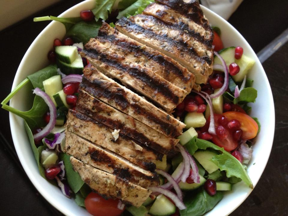 Another big salad with grilled balsamic chicken and pomegranate seeds.
