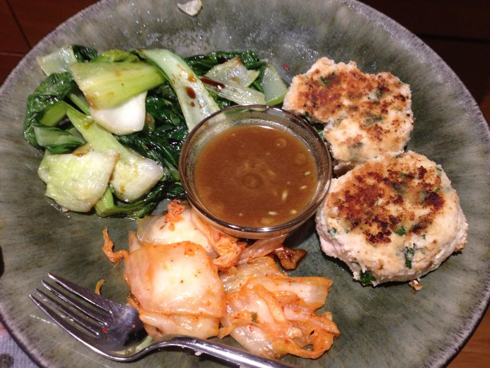 "Paleo ""chicken nuggets"" (with a ginger dipping sauce), sauteed bok choy and kimchi."