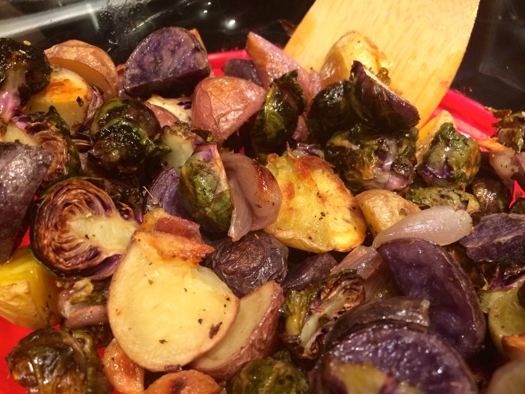The finished veggies from the baking sheet.